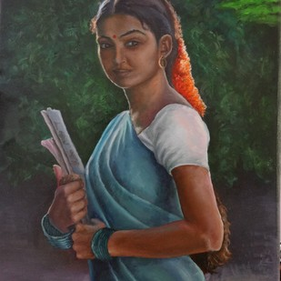 College Going Girl by Ramya Sadasivam, Expressionism Painting, Oil on Canvas, Green color