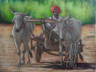 Bullock Cart by Ramya Sadasivam, Expressionism Painting, Oil on Canvas, Brown color
