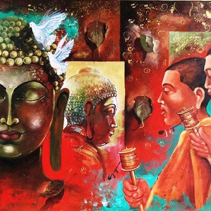 Buddha and monk 9 by Arjun das, Impressionism Painting, Acrylic on Canvas, Brown color