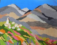 SPRING IN THE VALLEY by Sunita Bali, Abstract Textile, Mixed Media on Cloth, Brown color