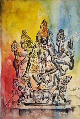 Mahishasura Mardini by Lasya Upadhyaya, Impressionism Painting, Watercolor on Paper, Brown color