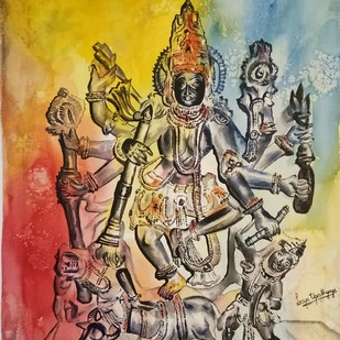 Mahishasura Mardini by Lasya Upadhyaya, Impressionism Painting, Watercolor on Paper, Brown color