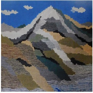 Mnt Kailash and Lake Mansariver by Sunita Bali, Abstract Textile, Mixed Media, Gray color