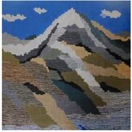 Mnt Kailash and Lake Mansariver by Sunita Bali, Abstract Textile, Mixed Media, Gray color