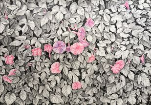 Flowers by SOUMI JANA, Illustration Drawing, Pencil on Paper, Gray color