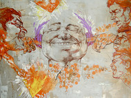 Kaleidotunes(Silence) by Biswajit Das, Expressionism Painting, Mixed Media on Canvas, Beige color