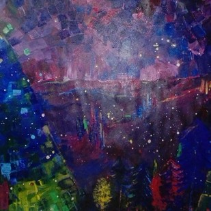 Feels like Christmas by Broti Ganguly, Abstract Painting, Acrylic on Canvas, Blue color