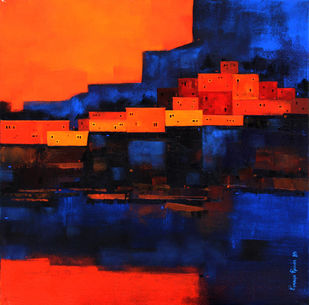 Cityscape 03 by Gangu Gouda, Abstract Painting, Acrylic on Canvas, Blue color