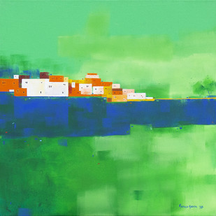Cityscape 04 by Gangu Gouda, Abstract Painting, Acrylic on Canvas, Green color