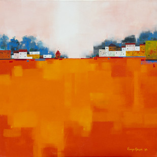 Cityscape 02 by Gangu Gouda, Abstract Painting, Acrylic on Canvas, Orange color