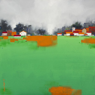 Cityscape 05 by Gangu Gouda, Abstract Painting, Acrylic on Canvas, Green color