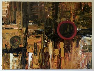 Space by Poonam Malik, Abstract Painting, Oil on Canvas, Brown color