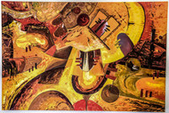 Abstract Shiva by Poonam Malik, Abstract Painting, Oil on Canvas, Brown color