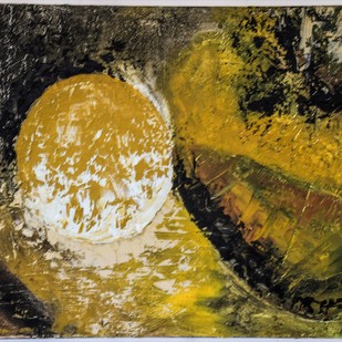 Rising Sun by Poonam Malik, Abstract Painting, Mixed Media on Canvas, Brown color