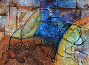 Bull Run by Poonam Malik, Abstract Painting, Mixed Media on Canvas, Brown color