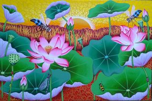 Lotus Pond by Ramu Das, Expressionism Painting, Acrylic on Canvas, Green color