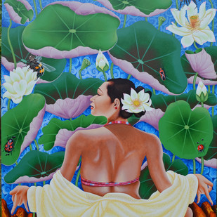 Women seating in Lotus pond by Ramu Das, Impressionism Painting, Acrylic on Canvas, Green color