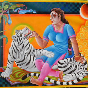 Women seating with tiger by Ramu Das, Impressionism Painting, Acrylic on Canvas, Brown color