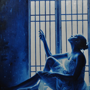 Bluing Life by Dhiraj Khandelwal, Expressionism Painting, Oil on Canvas, Blue color