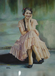 Posture by Dhiraj Khandelwal, Expressionism Painting, Oil on Canvas, Green color