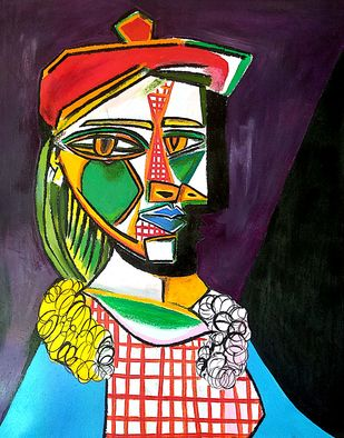 Picasso's women in beret and checked dress by Nithil, Illustration Painting, Acrylic on Canvas, Blue color