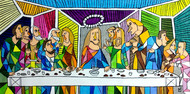 Leonardo's The Last Supper by Nithil, Pop Art Painting, Acrylic on Canvas, Green color