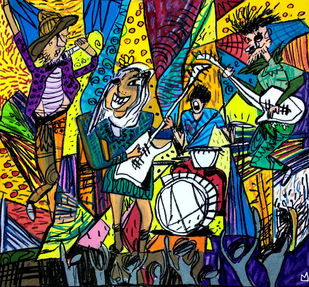 The Rock Band by Nithil, Pop Art Painting, Acrylic on Canvas, Green color