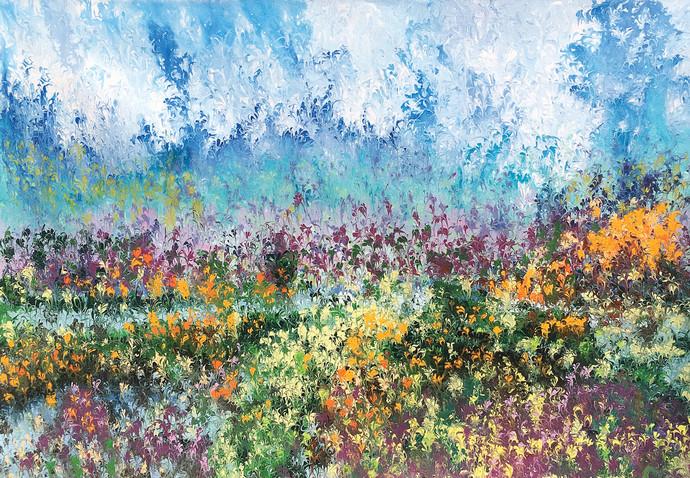 Guldaam by kaukab Ahmad, Impressionism Painting, Acrylic on Canvas, Cyan color