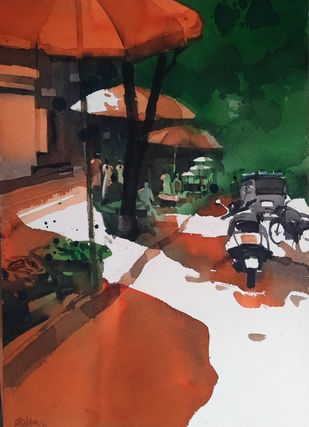 Market is red hot 1 by Prashant Prabhu, Impressionism Painting, Watercolor on Paper, Brown color