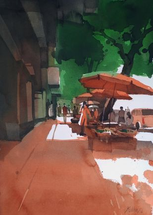 Market is red hot 2 by Prashant Prabhu, Impressionism Painting, Watercolor on Paper, Brown color