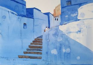 Step by step blues by Prashant Prabhu, Impressionism Painting, Watercolor on Paper, Cyan color