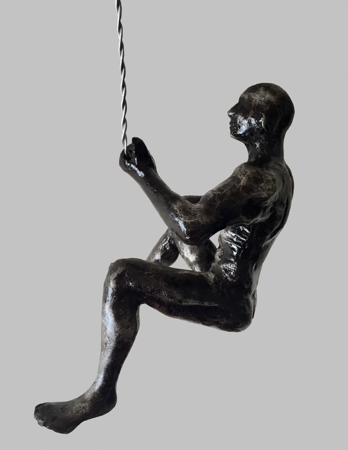 The Climber by Vernika, Art Deco Sculpture   3D, Metal, Gray color