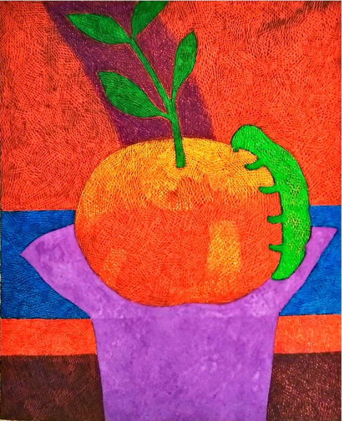 Forbidden Fruit by Amit Biswas, Impressionism Painting, Tempera on Paper, Red color