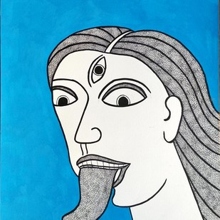 Goddess Kali by Amit Biswas, Expressionism Painting, Mixed Media on Paper, Gray color
