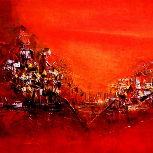 Untitled RED 18 by Dnyaneshwar Dhavale , Abstract Painting, Acrylic on Canvas, Red color