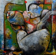 a lady with fish Digital Print by anupam pal,Traditional