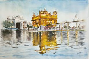Golden temple by Laasya Upadhyaya, Impressionism Painting, Watercolor on Paper, Beige color