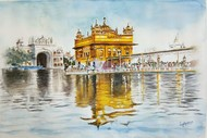 Golden temple by Lasya Upadhyaya, Impressionism Painting, Watercolor on Paper, Beige color