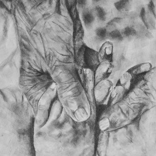 EDEN TOUCH by Reshma M, Illustration Drawing, Charcoal on Canvas, Grey color