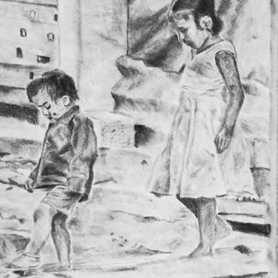 PUERILITY by Reshma M, Illustration Drawing, Charcoal on Canvas, Gray color