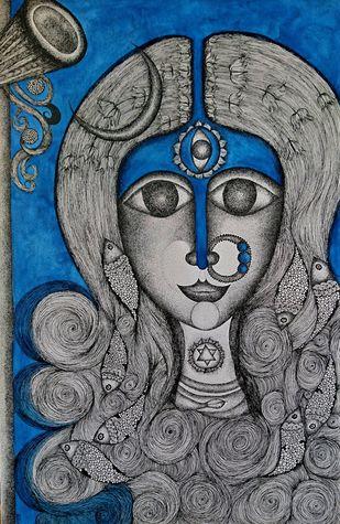 Maheshwari by Swadha, Illustration Drawing, Acrylic & Ink on Canvas, Gray color