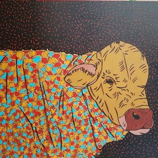 Bull by Ramakrishna Vasanthula, Expressionism Painting, Canvas on Board, Brown color