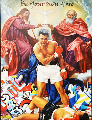"ALI ""BE YOUR OWN HERO"" by Sanuj Birla, Pop Art Painting, Oil on Canvas, Brown color"