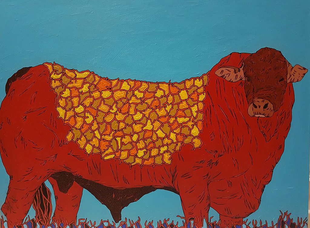 Bull by Ramakrishna Vasanthula, Expressionism Painting, Canvas on Board, Cyan color