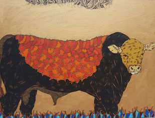 Bull by Ramakrishna Vasanthula, Impressionism Painting, Canvas on Board, Brown color