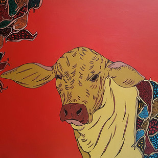 Bull by Ramakrishna Vasanthula, Expressionism Painting, Canvas on Board, Red color
