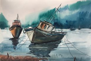 Seascape 2 by Vernika, Impressionism Painting, Watercolor on Paper, Green color