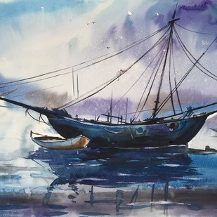 Seascape 3 by Vernika, Impressionism Painting, Watercolor on Paper, Blue color