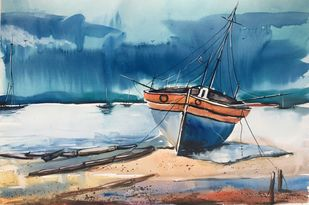 Seascape 4 by Vernika, Impressionism Painting, Watercolor on Paper, Blue color