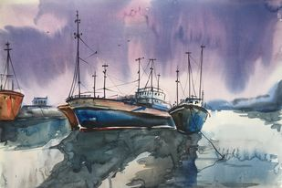 Seascape 5 by Vernika, Impressionism Painting, Watercolor on Paper, Pink color